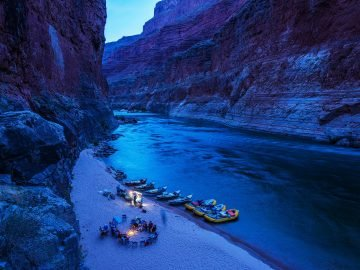 Blue twighlight casts a special glow on camp in the Grand Canyon
