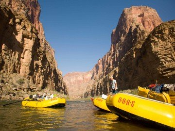 OARS rafts line the Colorado River in Grand Canyon National Park