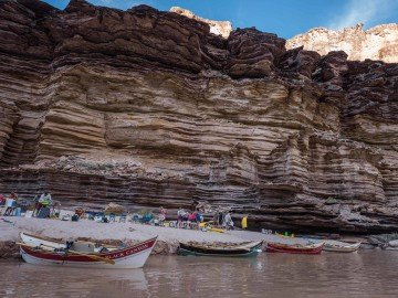 Dories parked along the Colorado River in Grand Canyon