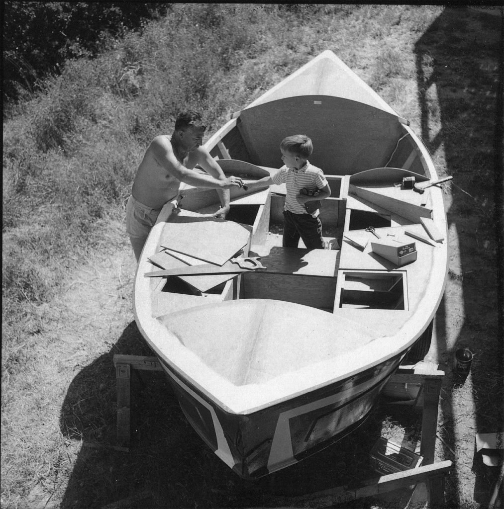 Martin Litton working on an early dory