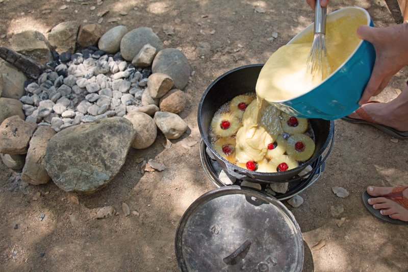 How to Make a Dutch Oven Dessert: Pineapple Upside-down Cake